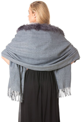 Grey Blanket Wrap Shawl With Faux Fur Trim