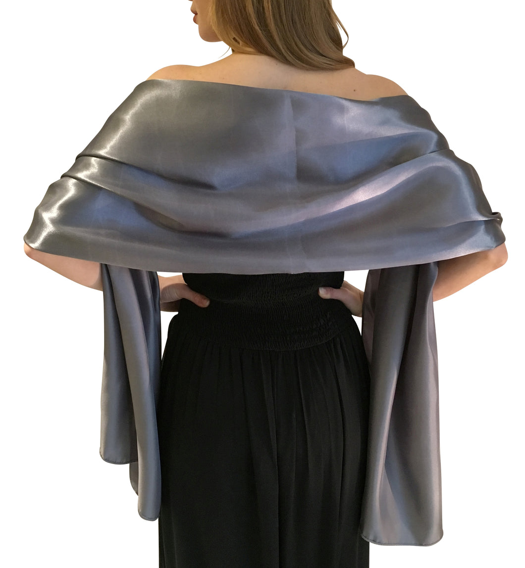 Gunmetal Grey Satin Wedding Wrap