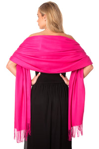 Hot Pink Cashmere Shawl Scarf Wrap