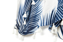 Load image into Gallery viewer, Long White & Blue Floral Kimono