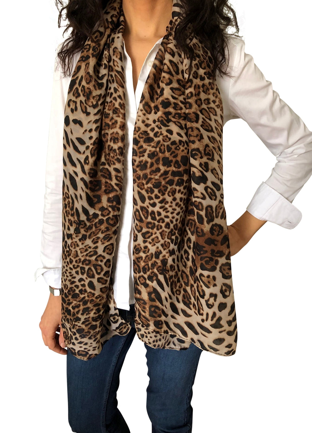 Large Silky Chiffon Cheetah Animal Scarves & Sarong