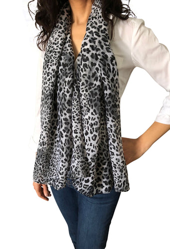 Large Silky Chiffon Leopard Animal Scarves & Sarong