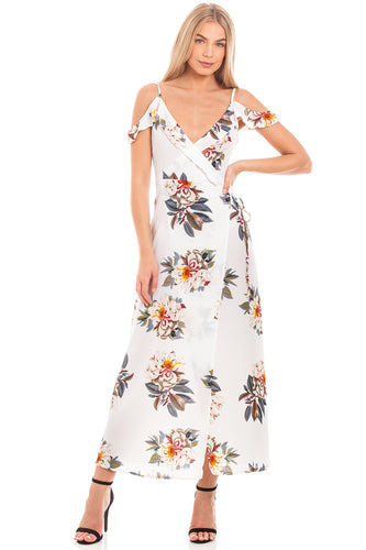 White Floral Wrap Dress