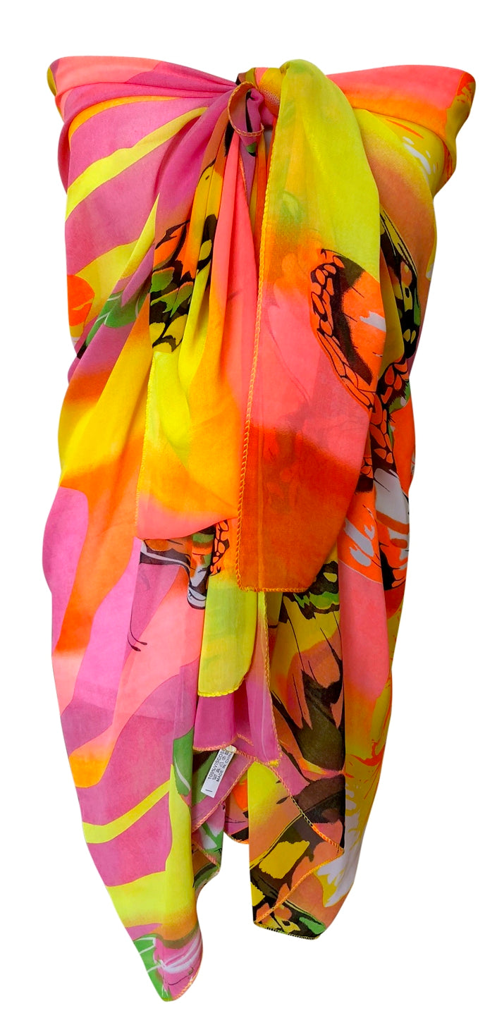 Brightly Coloured Butterfly Chiffon Sarong