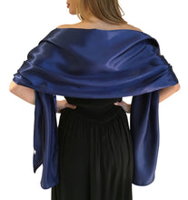 Load image into Gallery viewer, Navy Blue Satin Wedding Wrap