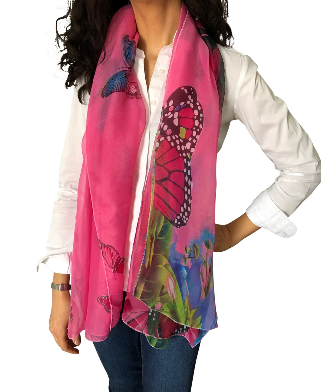 Large Silky Chiffon Pink Butterfly Print Scarves & Sarong