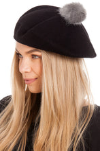 Load image into Gallery viewer, Black Pom Pom Beret