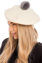 Load image into Gallery viewer, Cream Pom Pom Beret
