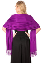 Load image into Gallery viewer, Purple Cashmere Shawl Scarf Wrap