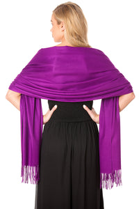 Purple Cashmere Shawl Scarf Wrap