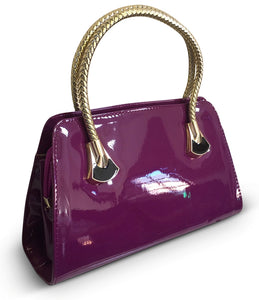 Purple Patent Tote With Woven Handle