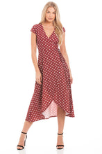 Load image into Gallery viewer, Red Polka Dot Wrap Dress