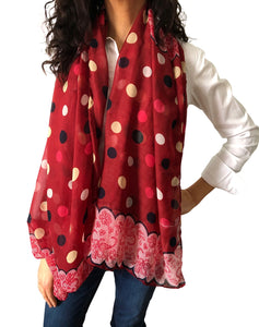Large Silky Chiffon Red Polka/Lace Scarves & Sarong