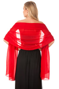 Deep Red Chiffon Shawl