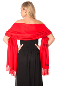 Scarlet Red Cashmere Shawl Scarf Wrap