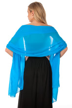 Load image into Gallery viewer, Blue Chiffon Shawl