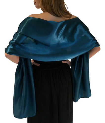 Teal Satin Wedding Wrap