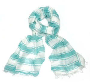 Seaside Turquoise Striped Scarf