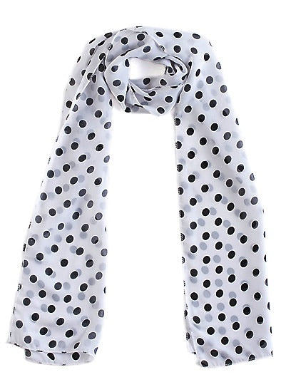 Small White Chiffon Polka Dot Scarf