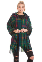 Load image into Gallery viewer, Emerald Tartan Blanket Wrap Cape Open Poncho
