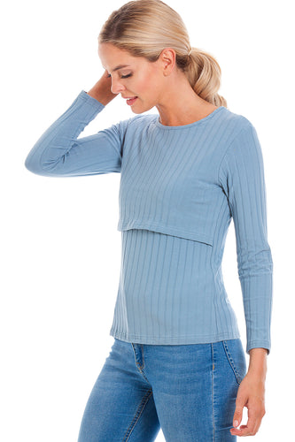 Blue Ribbed Maternity & Breastfeeding Top