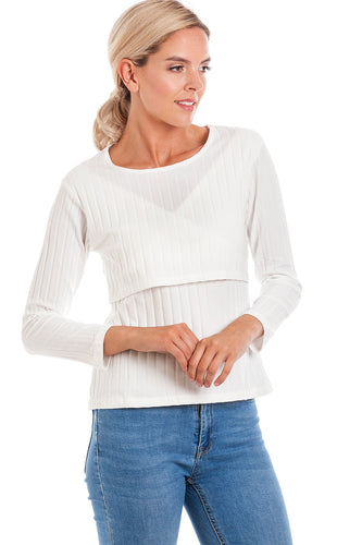 White Ribbed Maternity & Breastfeeding Top