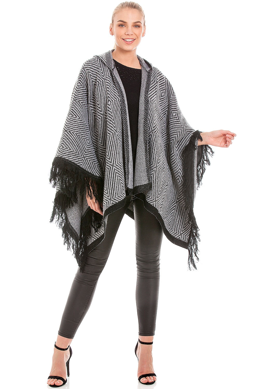Hooded Grey Blanket Wrap Shawl