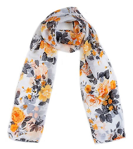 Yellow Flower Chiffon Scarf