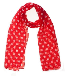 Small Red Chiffon Polka Dot Scarf