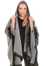 Load image into Gallery viewer, Hooded Grey Blanket Wrap Shawl