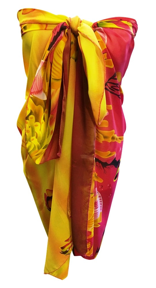Yellow & Hot Pink Underwater Chiffon Sarong