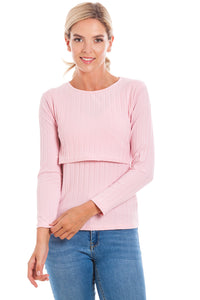 Pink Ribbed Maternity & Breastfeeding Top