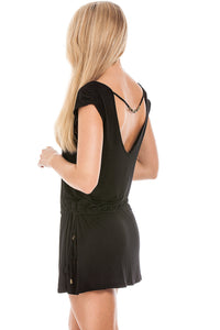 Black Beaded Back Dress S-M