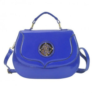 Blue Patent Embossed Over Shoulder Bag