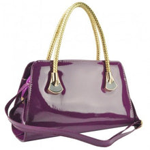Load image into Gallery viewer, Purple Patent Tote With Woven Handle