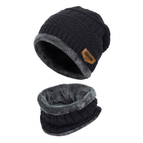 Baby Kids Cable Knit Fleece Hat & Snood Set