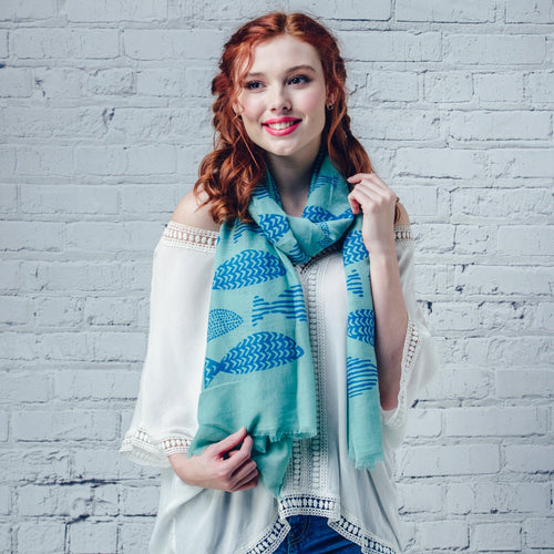 Patterned Fish Scarf