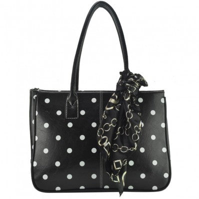 Black Polka Tote Bag With Scarf