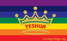 Load image into Gallery viewer, Yeshua King over - Your Nation Silk Printed Worship Flags - LIVING FLAGS STORE