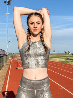 Silver Snake Print Drop Racerback Crop Top
