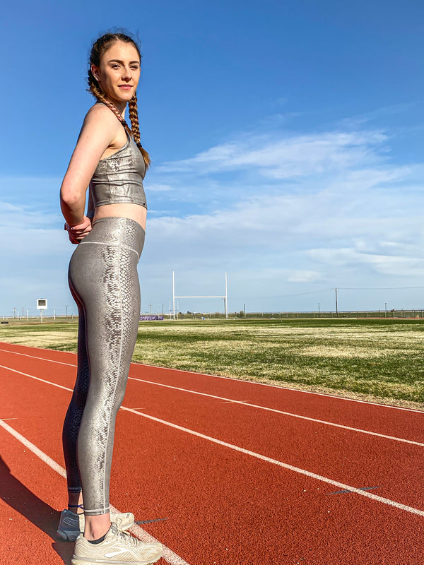 Silver Snake Print Highwaist Leggings
