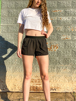 Lined Hybrid Perforated Active Short Shorts