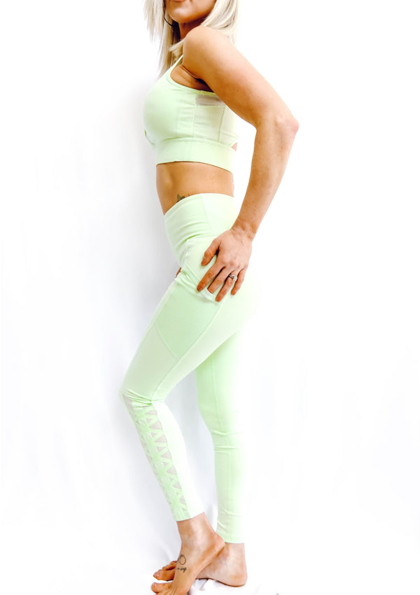 Mesh Lattice Strap Leggings