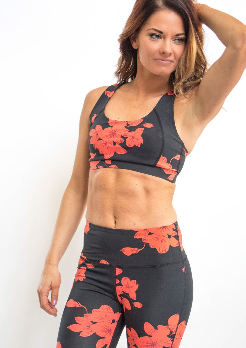 Hibiscus Floral Print Sports Bra