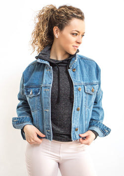Medium Wash Raw and Ribbed Crop Denim Jacket