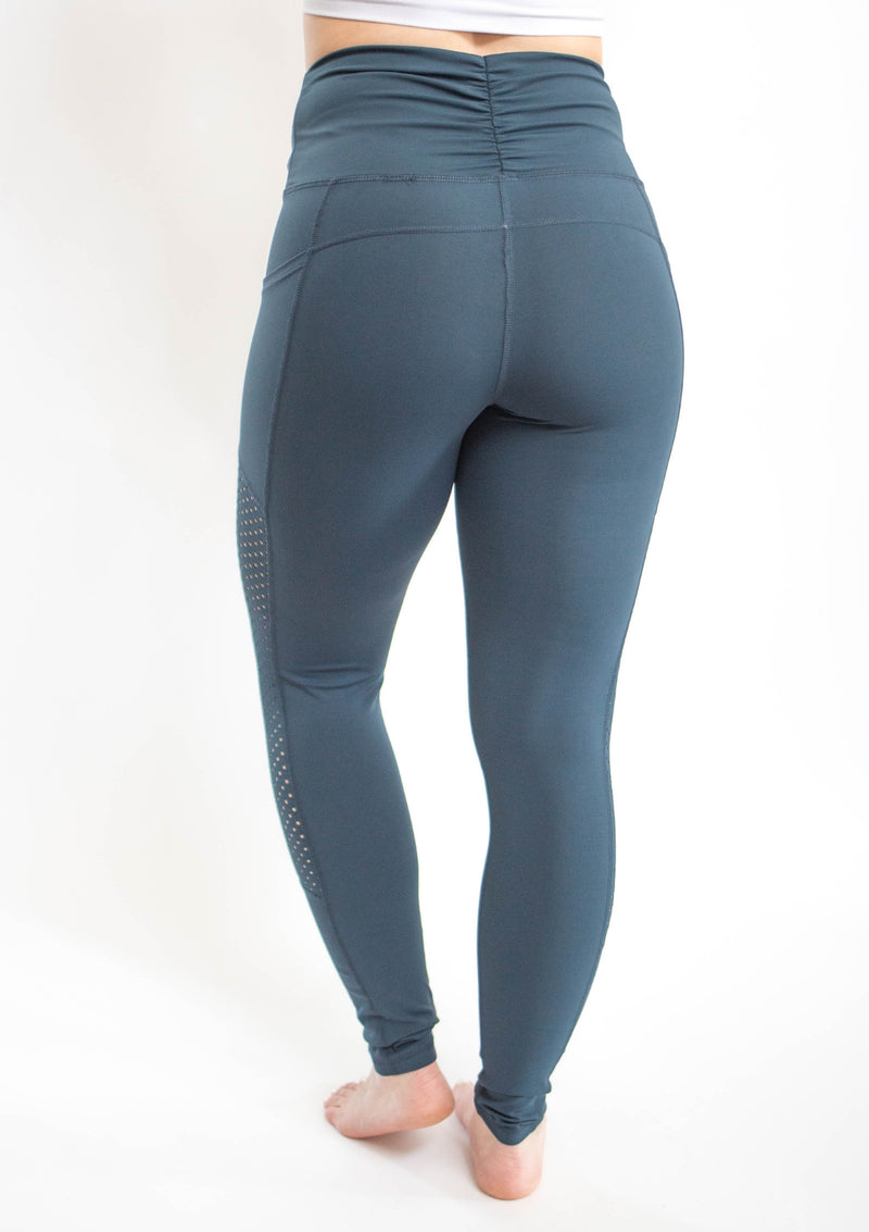 Teal High Waist Shirred Leggings