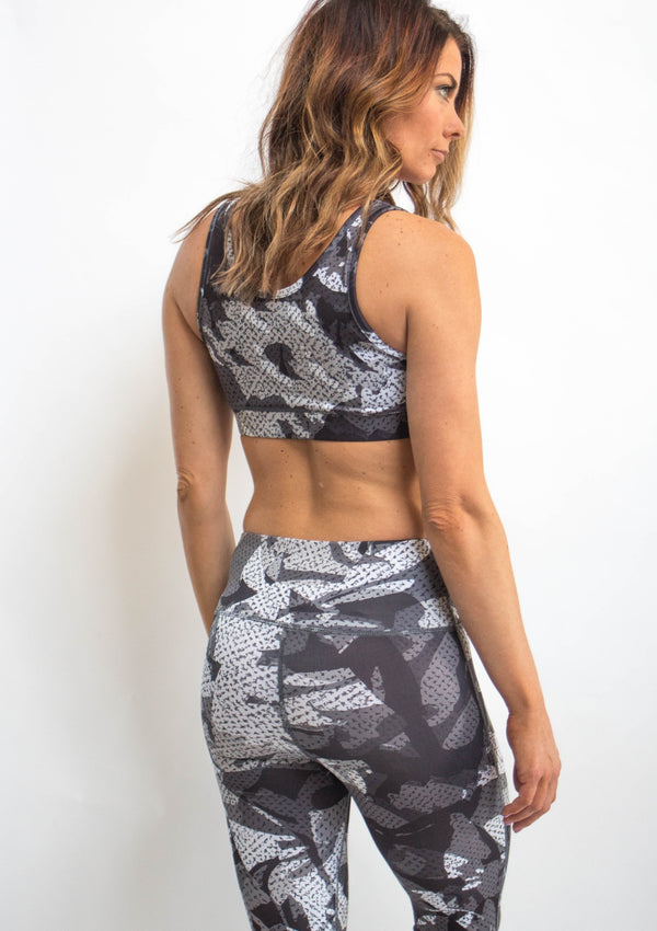 Monochrome Camo Sports Bra