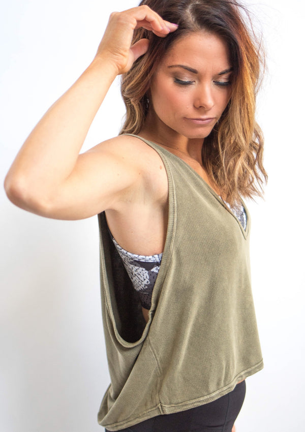 Olive Swoop V-Neck Hi-Lo Crop Muscle Tank