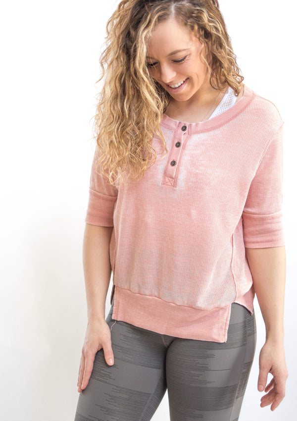 Pink 3/4 Sleeve Length Knit Top