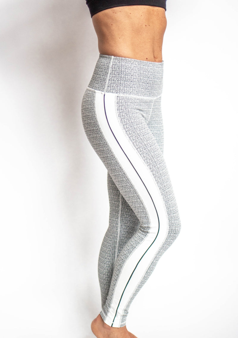 Black and White Highwaist Sideline Grain Print Leggings